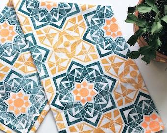 Star Crossed Tea Towel - Patterned Flour Sack Towel - Moroccan Pattern Kitchen Towel