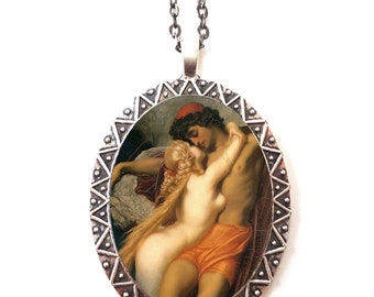 Mermaid Romance Necklace Pendant Silver Tone - Leighton The Fisherman and the Syren Mermaids Romantic