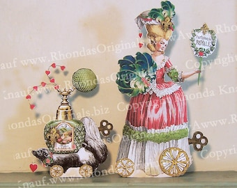 INSTANT Download - Digital Marie Antoinette Paper Doll Or Valentine Card Download - Printable French Perfume Lady, Skunk Altered Art MA17V