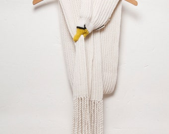 Swan Scarf with Fringes - Unique Gift for Bird Lovers