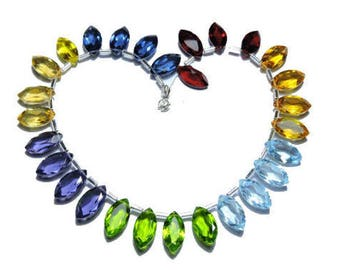 28 Pcs Very Beautiful Multi Color Quartz Faceted Marquise Shape Gemstone Beads Size 15X8 MM