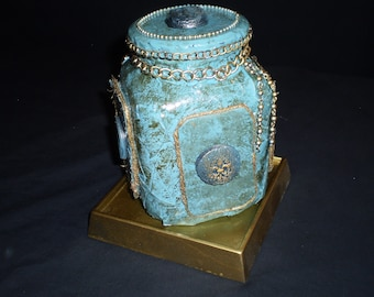 Altered Glass Blue Jar