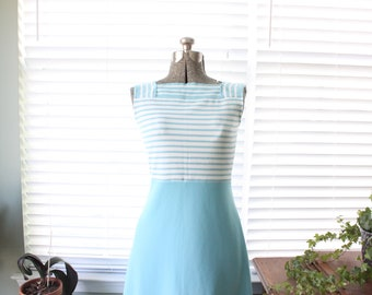 1970s Blue and White Striped Sears Maxi Dress