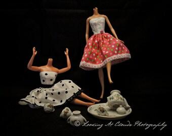 Tea Party Tantrum, funny Barbie art photo, headless dolls, Barbies, not so creepy doll art