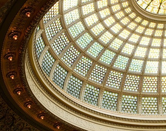 Chicago Art, Architecture Photography, Gold Wall Art, Chicago Landmarks Prints, The Tiffany Dome