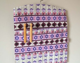 Ecofriendly purple daisy vintage fabric clothespin peg bag laundry room storage