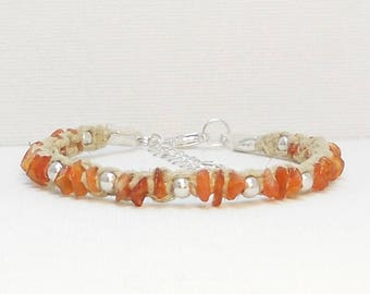 Carnelian Hemp Bracelet ~ Genuine Orange Carnelian Gemstone Chips Macrame Hemp Bracelet