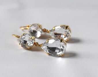 Big Crystal Earrings, Diamond Rhinestone Wedding Earring, Paste Glass Jewelry, Georgian Regency Clear Rhinestone Jewelry, Victorian Earring