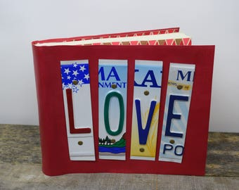 Leather Photo Album LOVE Recycled License Plates