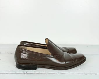 90s CALVIN KLEIN CLASSIFICATION brown leather flats size 7