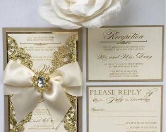Metallic Champagne and Gold Invitation