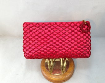 Red Satin and Criss-Crossing Beaded Pattern 7 by 4 Inch Clutch Style Purse    01486