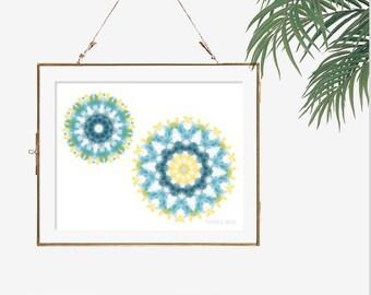 Modern artwork hippie boho decor yellow kitchen decor white and blue bathroom decor print poster mandala wall art print illustration 8x10