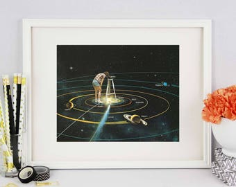 Solar system print, Solar System poster, Solar System art, Bedroom wall art, quirky art, retro posters, vintage altered poster, gift for her