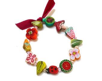 """Birthday Girl Stretch Bracelet 6""""3/4 Fairy Flower girl Bracelet, Artisan Wedding gift idea for little girl, child jewelry, bracelet fillette"""