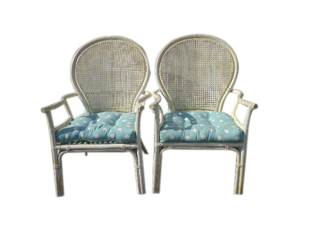 2 Rattan Chairs Chinoiserie Chinese Chippendale Vintage Bohemian Boho Beach  Armchair Cane Bentwood Faux Bamboo Furniture Accent Seating