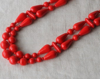 Vintage Red Glass Necklace, Opaque Glass, Cherry Red, Teardrop Beads, 2 Strand, Princess Length, KC121