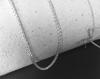 935-960 Fine Argentium -Width 1.7mm  Wheat Chain Necklace Natural Argentium Sterling w/ Lobster Clasp 6.5 7 8 9 12 14 16 18 20 22 24 26 ...
