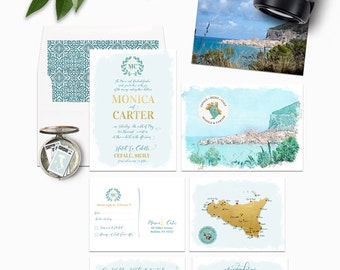Sicily Cefalu Illustrated Destination wedding invitation Italy wedding Gold and Blue Deposit Payment