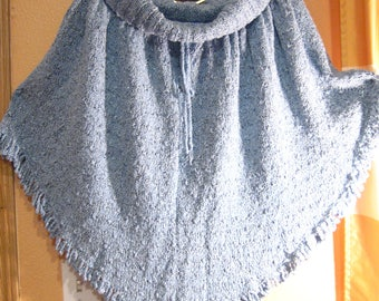 New Handmade Knitted Ladies' Poncho in Acrylic Blend Light Blue Polaire Boucle Yarn