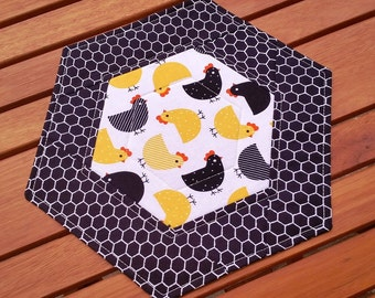 Hexagon Quilted Candle Mat: modern country chickens snack mat, black and white small table topper, black and yellow mug rug, farmhouse decor