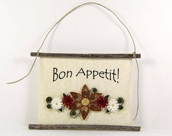 Bon Appetit, Paper Quilled French Kitchen Sign, 3D Paper Quilled Banner, Brown Red White Decor, France Gift, Enjoy Your Meal Kitchen Art