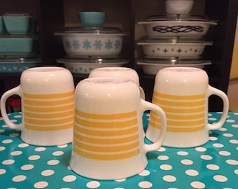 4 Corning Ware Yellow Striped Mugs