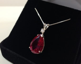Beautiful 7.5ct Ruby & White Sapphire Sterling Silver Pendant Necklace Pear Cut Ruby Necklace teardrop July Gift Mom Fiancé ladies jewelry