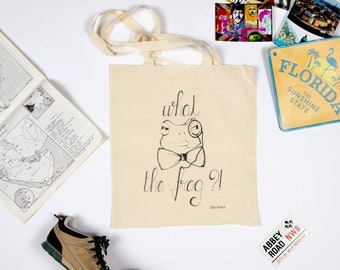 "Tote Bag ""What The Frog?"" frog pattern drawn handmade"