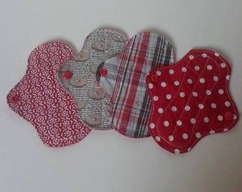 set of 4 covers red washable slip and taupe