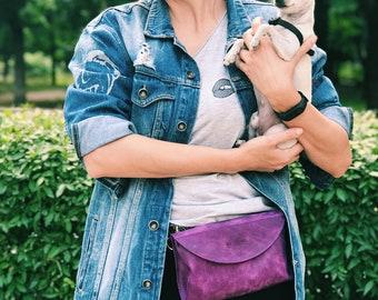 Leather belt bag/women leather waist bag/leather fanny pack/festival bag/small leather bag/leather hip bag/small leather purse/handmade bag/