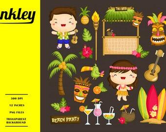 Hawaii Clipart, Hawaii Clip Art, Hawaii Png, Tropical Clipart, Surfing Clipart, Ocean Clipart, Tiki Totem Clipart, Guitar Clipart