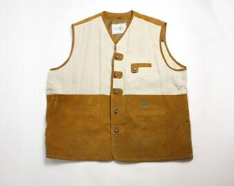 Vintage 80's 90's Men's Loden Linen Real Leather Suede Vest Waistcoat Plus Size XXXL