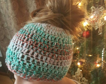 messy bun, pony tail hat, gift for her, gift under 30
