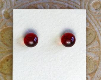 Dichroic Glass Earrings , Petite, Dark Red  DGE-1394