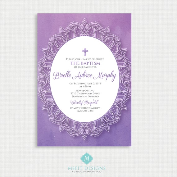 Lace and Watercolor Baptism Invitation-  Baptism Invitation -  First Communion, Confirmation, Christening - Printable invitation