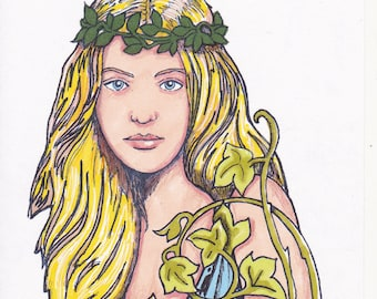 Forest spirit/ Green Lady/Goddess Pagan/Wiccan. Mystical, Magical, polymer stamp. Free postage.
