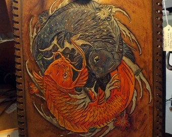 Custom Hand Tooled Leather iPad case made to your design specifications in FULL COLOR!