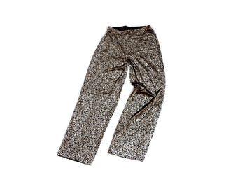 vintage champagne gold and black velvet pants floral damask paisley print / cozy high waisted pants boho pants festival pants lounge pants
