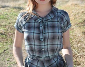 MINT Vintage 1940's Day Dress Lightweight Cotton Plaid