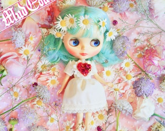 Blythe Dress-little white dress with beads embroidery heart