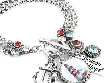 Nautical Jewelry, Lighthouse Jewelry, Ocean Anchor, Red White and Blue Jewelry, Boating Jewelry