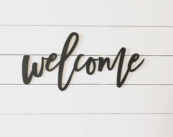 welcome sign, word cutout, wood words, wood letter