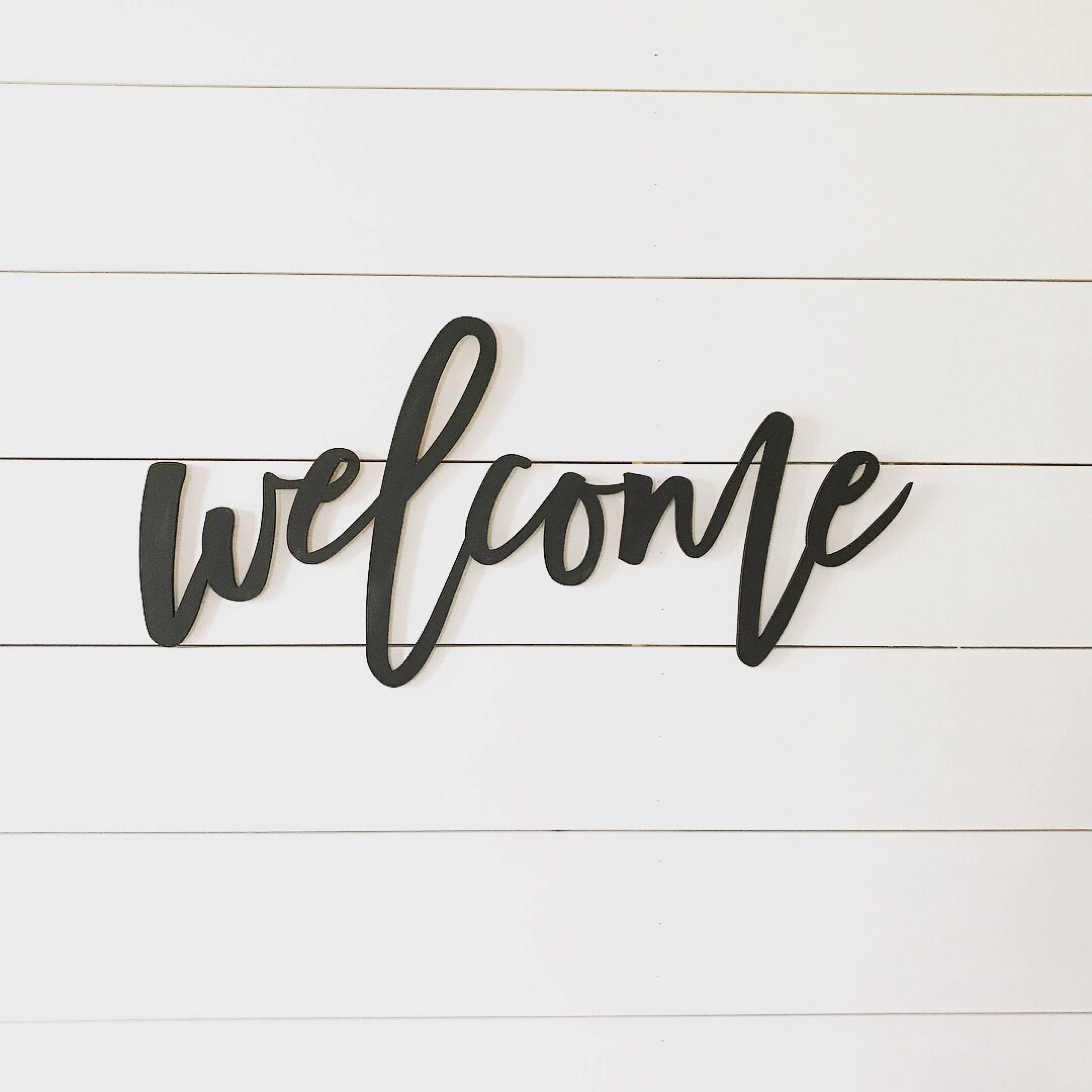 Welcome Sign Word Cutout Wood Words Wood Letter