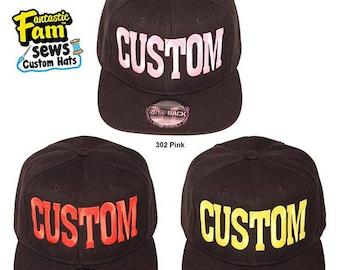Custom 1 Tone Snapback Hat - Black