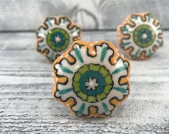 Ceramic Knob Decorative Cabinet Upgrade Knobs, Craft Supply, Hand Painted Drawer Pulls, Item #538015570
