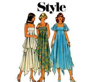 Style 1929 Womens Boho Empire Waist Tent or Handkerchief Dress 70s Vintage Sewing Pattern Size 12 Bust 34 inches UNCUT Factory Folded