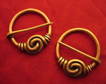 Pair of Spiral Annular Brooches