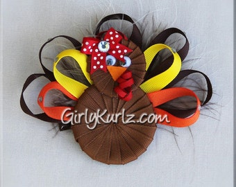 Turkey Hair Bow, Thanksgiving Hair Bow, Turkey Ribbon Sculpture, Thanksgiving Hair Clip, Thanksgiving Hair Bow, Turkey Hair Clip