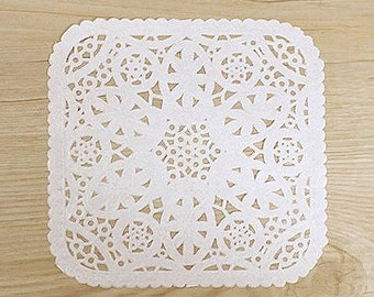 30 Square Lace Paper Doilies - White (3.9 x 3.8in)